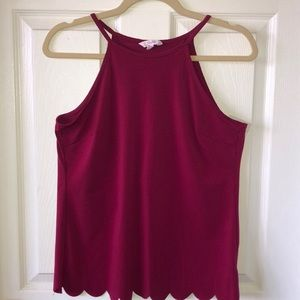 Candie's maroon scalloped open back tank top